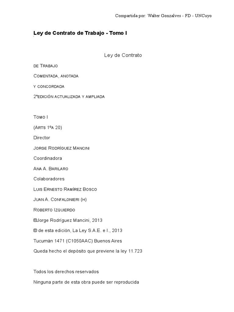 Ley de Contrato de Trabajo Rodriguez Mancini Tomo I