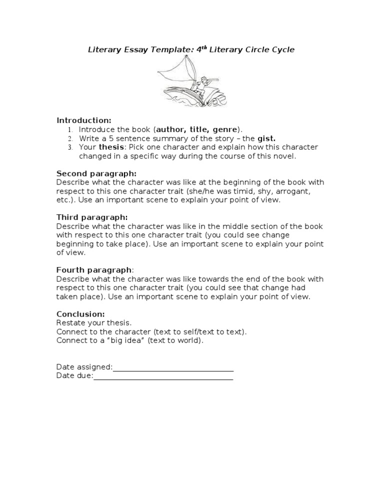 Literary Essay Template- Character Development