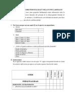 Cuestionario Personalidad y Ralaciones Laborales