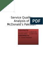 Service Quality Analysis of Mcdonald's