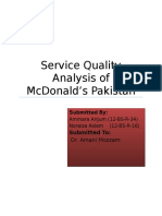 Service Quality Analysis of Mcdonald's