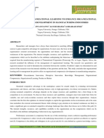 MANAGEMENT OF ORGANIZATIONAL LEARNING TO ENHANCE ORGANIZATIONAL COMPETENCIES DEVELOPMENT IN MANUFACTURING INDUSTRIES