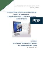 Criterios Proyecto Empresarial 31ene12