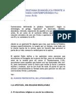 LA IGLESIA CRISTIANA EVANGÉLICA FRENTE A LA APOSTASÍA CONTEMPORÁNEA Por Álvaro Donoso Ávila
