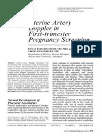 uterine artery Doppler in first trimester Pregnancy screening