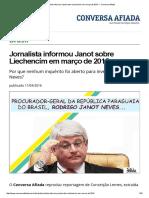 Jornalista Informou Janot Sobre Liechencím Em Março de 2015 — Conversa Afiada