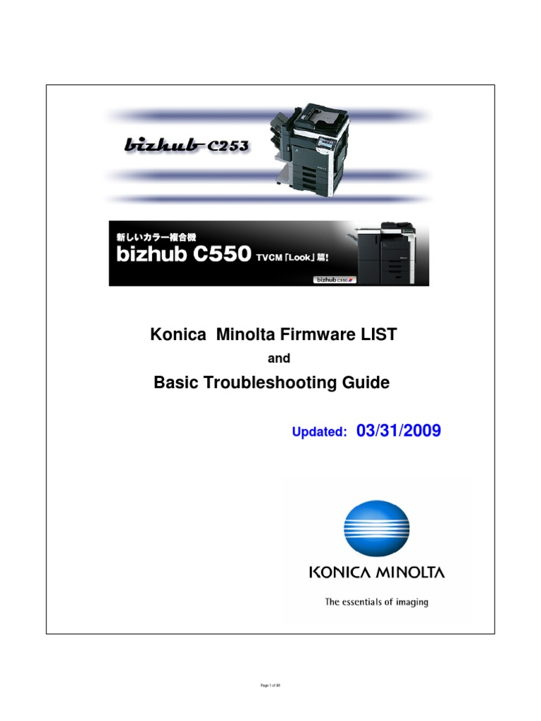 Konica Minolta FIRMWARE List | Remote Desktop Services