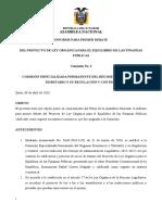 INFORME PARA PRIMER DEBATE DEL PROYECTO DE LEY ORGÁNICA PARA EL EQUILIBRIO DE LAS FINANZAS PÚBLICAS