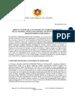 Misiva Cautelar CIC-MC008-2016 a favor de la Iglesia Anglicana Regina Apostolorum en el Departamento del Huila