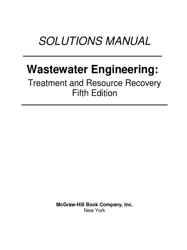 Wastewater Engineering Treatment 5th Edition Solutions Manual | Sewage  Treatment | Ph