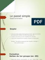Le Passe Simple. Emploi Et Formation