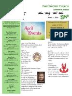 April 11 This Week at FBC
