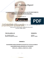 Analysis of Financial & Investment Products of Icici Bank