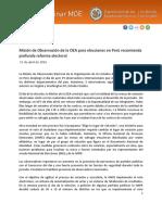 Informe preliminar de la OEA sobre elecciones en Perú 2016