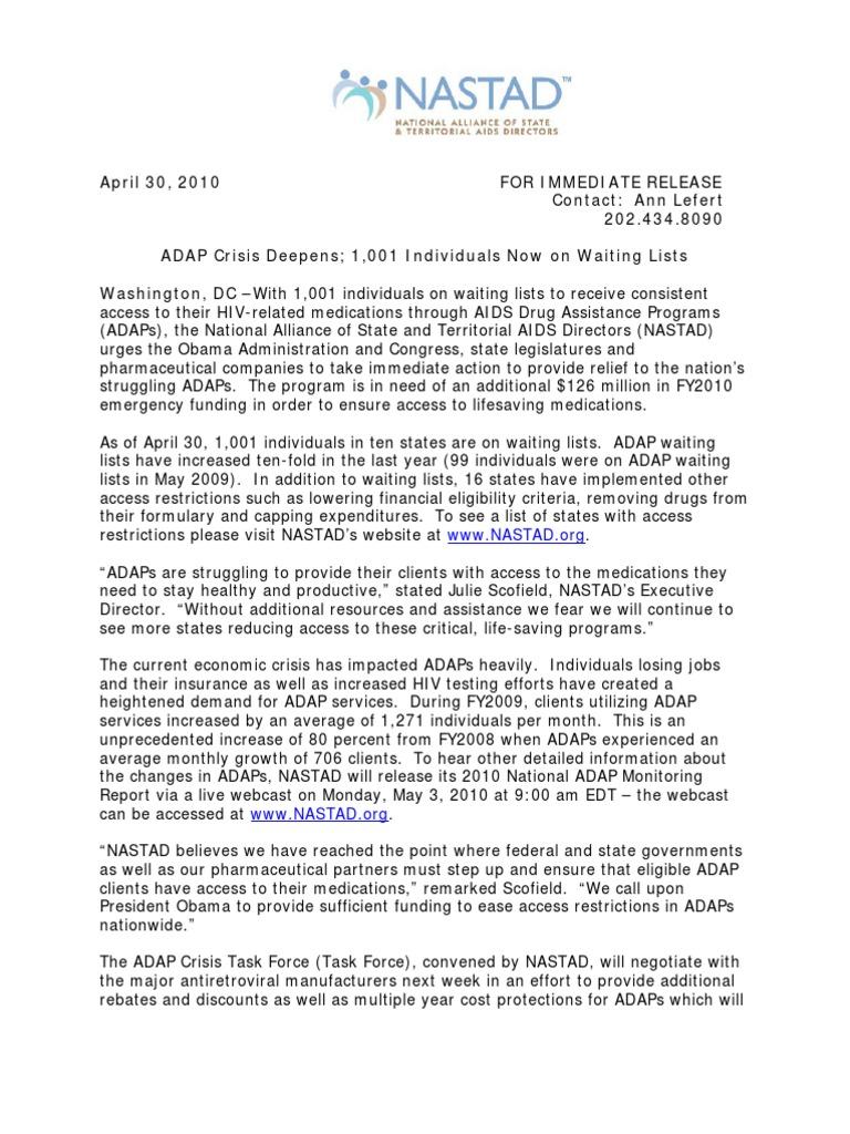 Nastad Adap Crisis Press Release 4 30 10 Hivaids Medicare