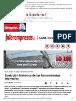 Evolución Histórica de Las Herramientas Manuales - Construcción