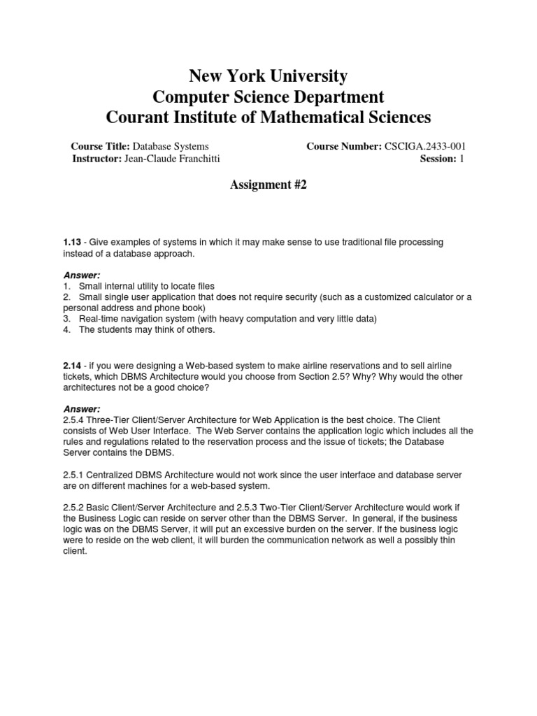 Homework 2 Solutions | Web Application | Databases