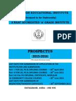Prospectus of DEI 2015-16