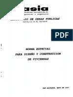 Norma Especial Para Diseño y Construccion de Viviendas en El Salvador