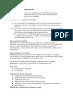 Comunicación Interpersonal Trabajo Escrito
