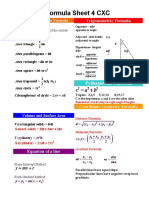 Maths Formula Sheet for CSEC