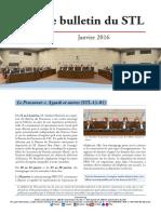 Bulletin du TSL - Janvier 2016