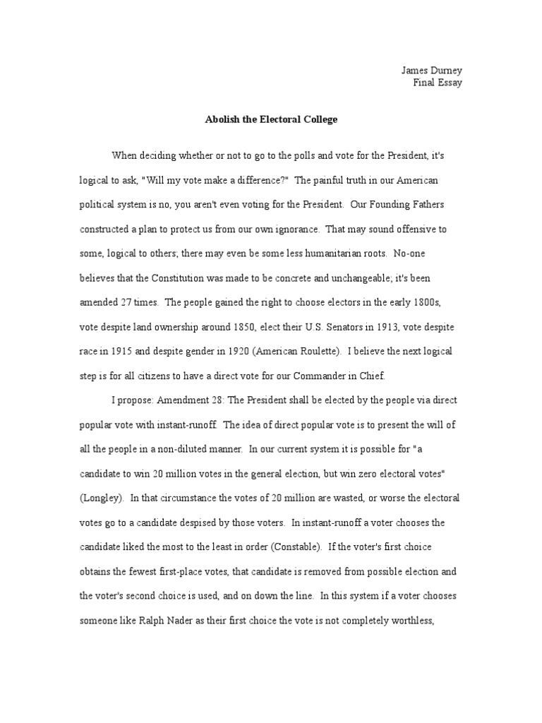 should the electoral college be abolished essay