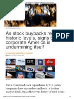 Corporate America's Buyback Binge Feeds Investors, Starves Innovation