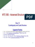 MTE 583 Class 10