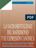 La Sacramentalidad Del Matrimonio y Su Expresión Canonica - Tomas Rincon-Pérez