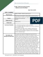 reflective lesson plan-science lesson