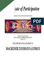 is - mackenzie tourigny-conroy blast certificate 2015
