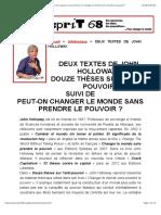 DEUX TEXTES de JOHN HOLLOWAY - 12 Thèses Sur l'Anti-pouvoir Suivi de Peut-On Changer Le Monde Sans Prendre Le Pouvoir