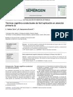 Técnicas Cognitivo-conductuales de Fácil Aplicación en Atención Primaria I