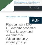 Resumen de El Adolescente y La Libertad Arminda Aberastury Gratis Ensayos