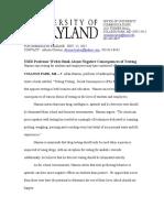 UMD Mock Press Release-feature