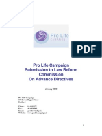 Pro Life Campaign - Submission to Law Reform Commssion on Advance Care Directives - January 2009