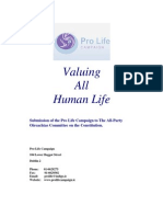 Pro Life Campaign - Submission to the All Party Oireachtas Committee on Abortion 'Valuing All Human Life'  - 1999