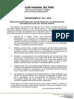 Comunicado PNP N° 14 - 2016