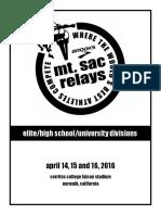 2016 Mt Sac Relays Program