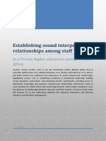 establishing sound inter-personal relationships among staff in a a private higher education setting in sa