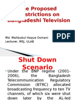 Proposed Restrictions on Bangladeshi Television