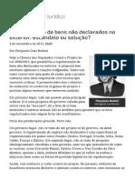 ConJur - Regularizar Bens Não Declarados No Exterior_ Escândalo Ou Solução
