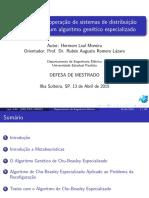 Otimizaçãao da operação de sistemas de distribuiçãa radiais usando um algoritmo genético especializado