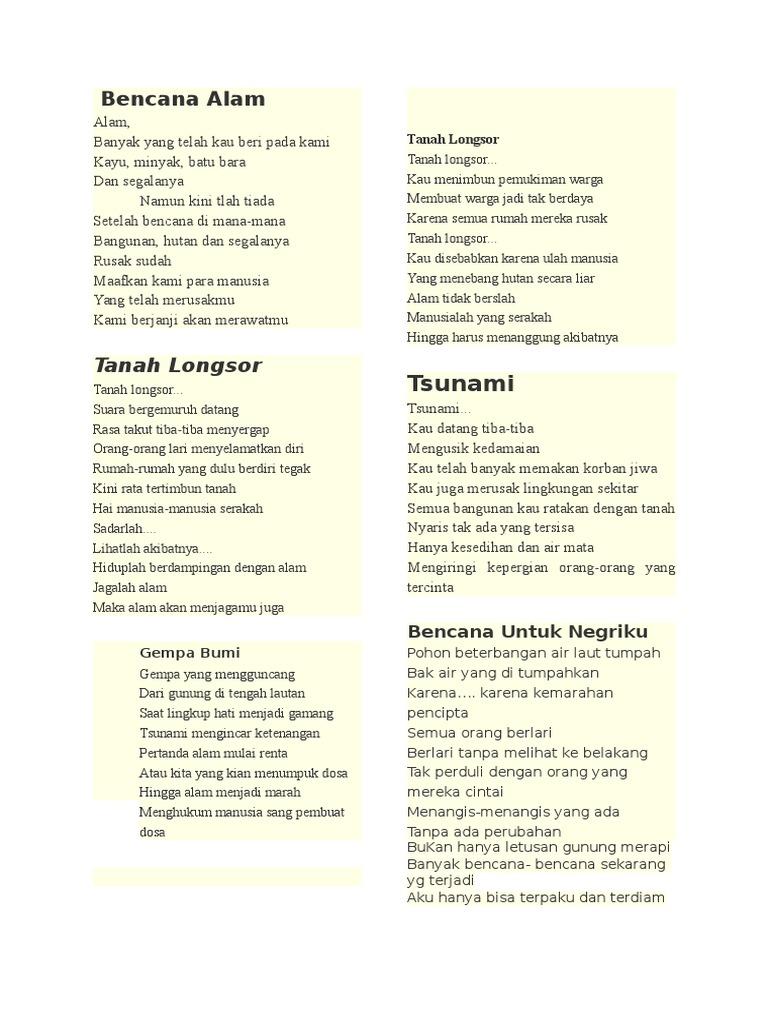 Puisi Tentang Alam Sekitar Rumah Brad Erva Doce Info