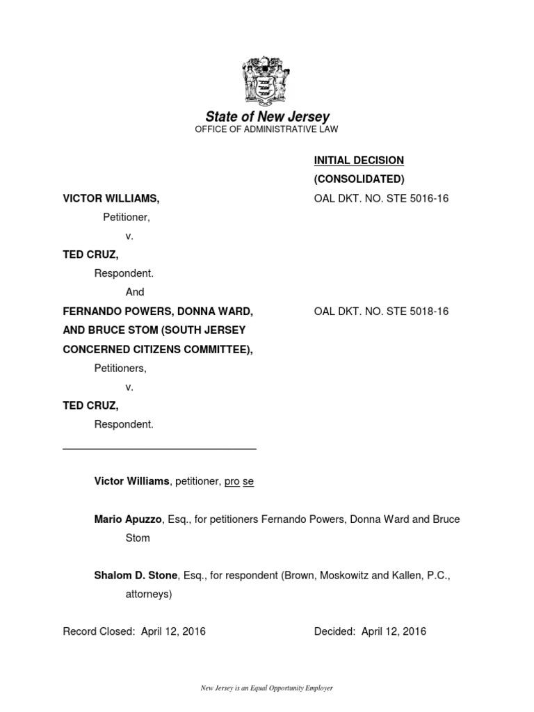 Nj Judge Advisory Opinion Rules Canadian Born Cruz Eligible To Be