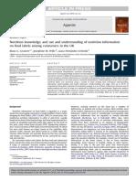 Nutrition Knowledge, Grunert Et Al 2010, In Appetite