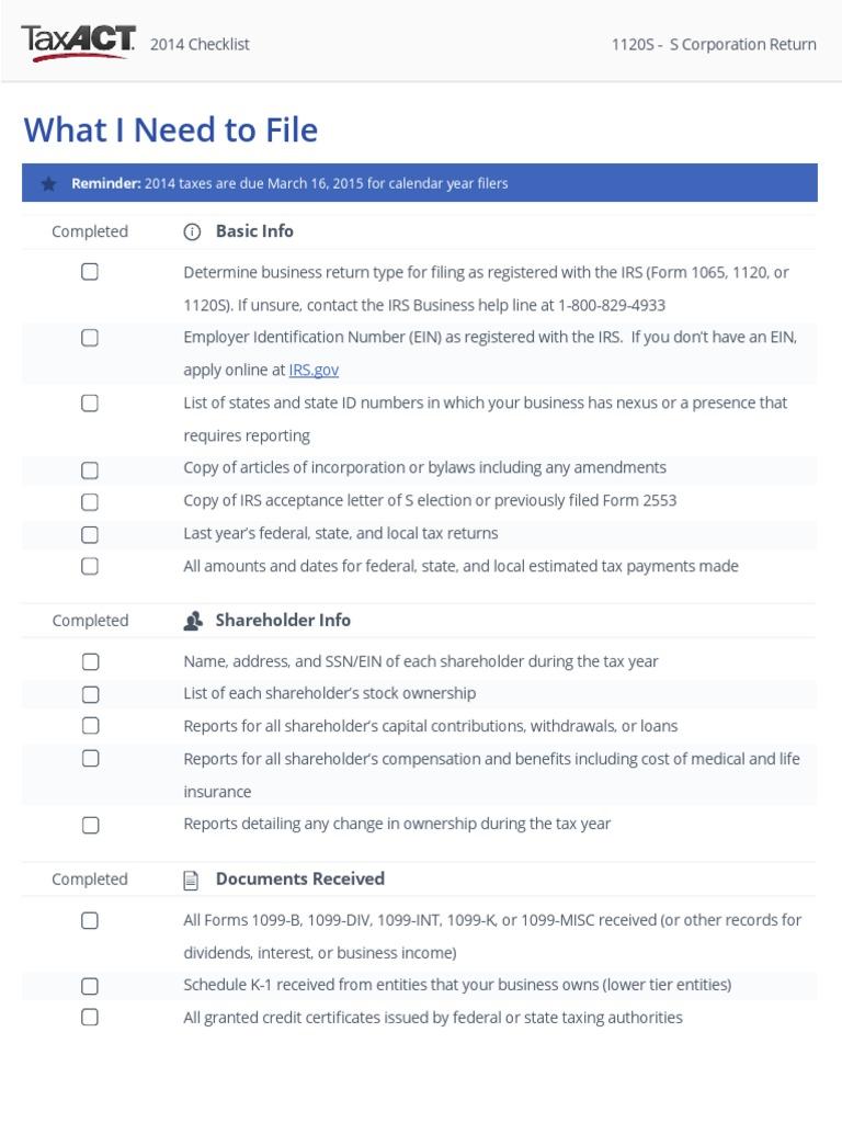 S-Corp 1120S Tax Filing Checklist - 2014 | S Corporation | Depreciation