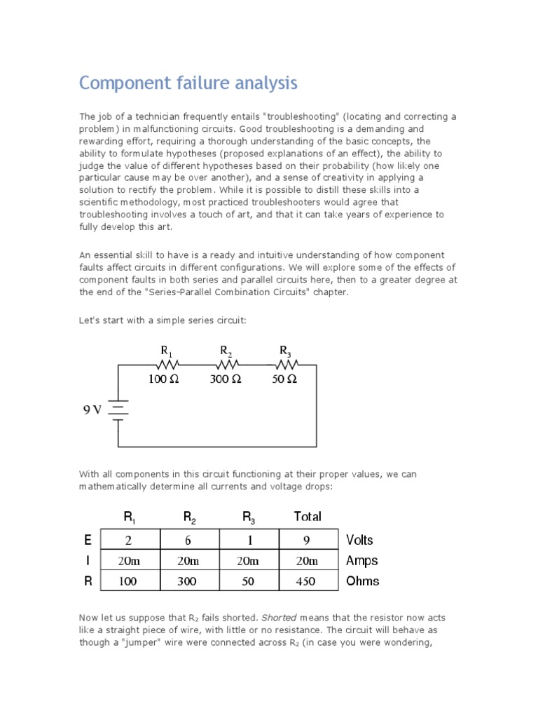 component failure analysis series and parallel circuits rh es scribd com