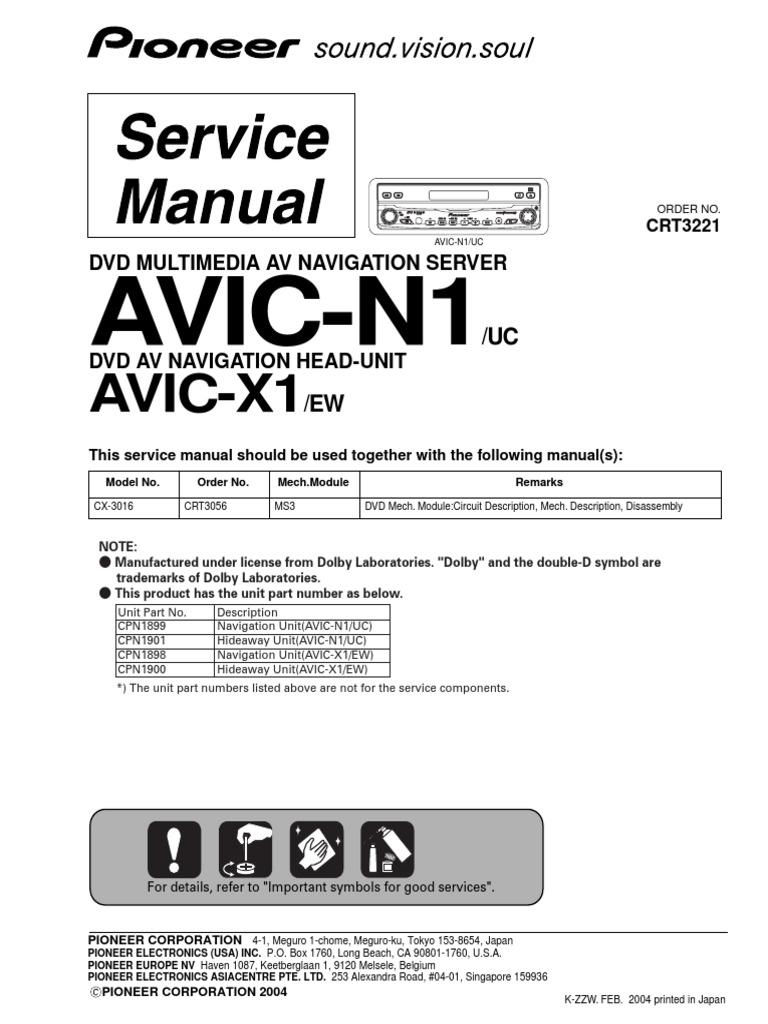 Pioneer Avic N1 Wiring Diagrams Click Jensen Uv10 Harness Diagram N1avic X1 Pdf Laser Electrical Connector